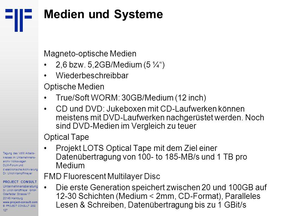Medien und Systeme Magneto-optische Medien