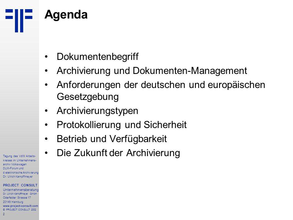 Agenda Dokumentenbegriff Archivierung und Dokumenten-Management