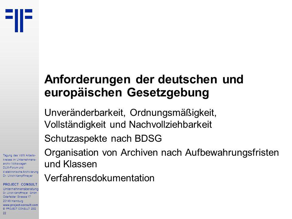 Anforderungen der deutschen und europäischen Gesetzgebung