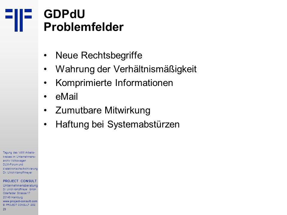 GDPdU Problemfelder Neue Rechtsbegriffe