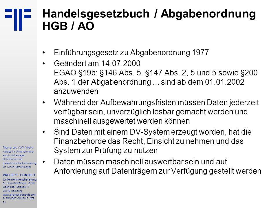Handelsgesetzbuch / Abgabenordnung HGB / AO