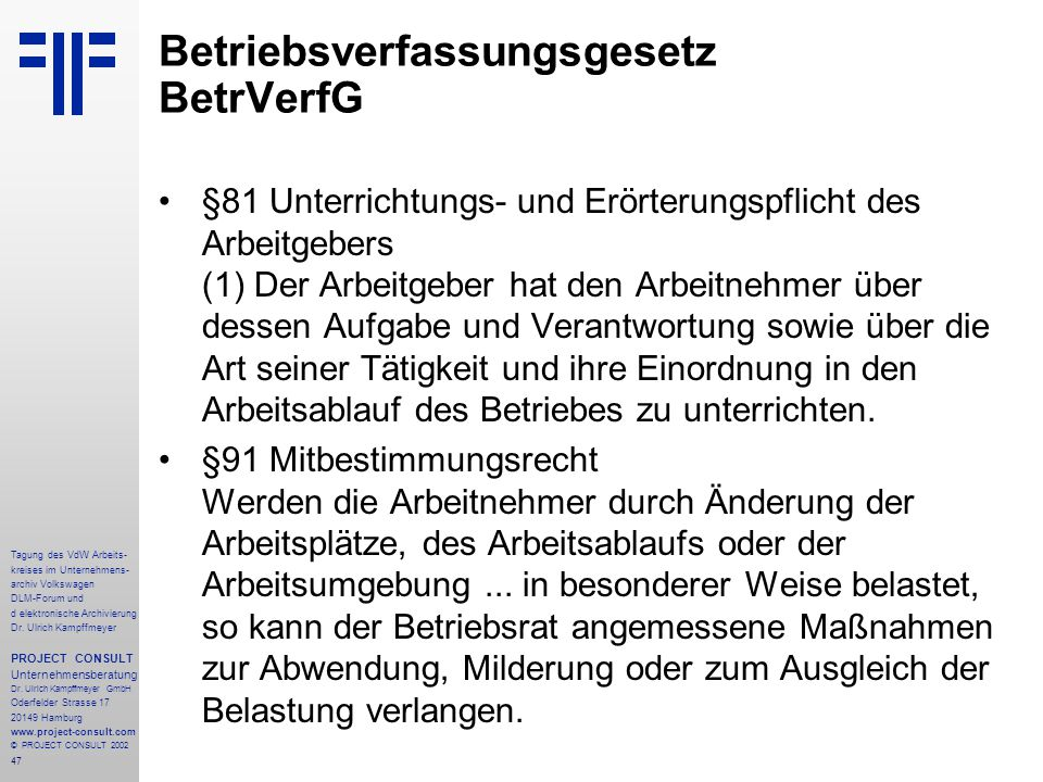 Betriebsverfassungsgesetz BetrVerfG