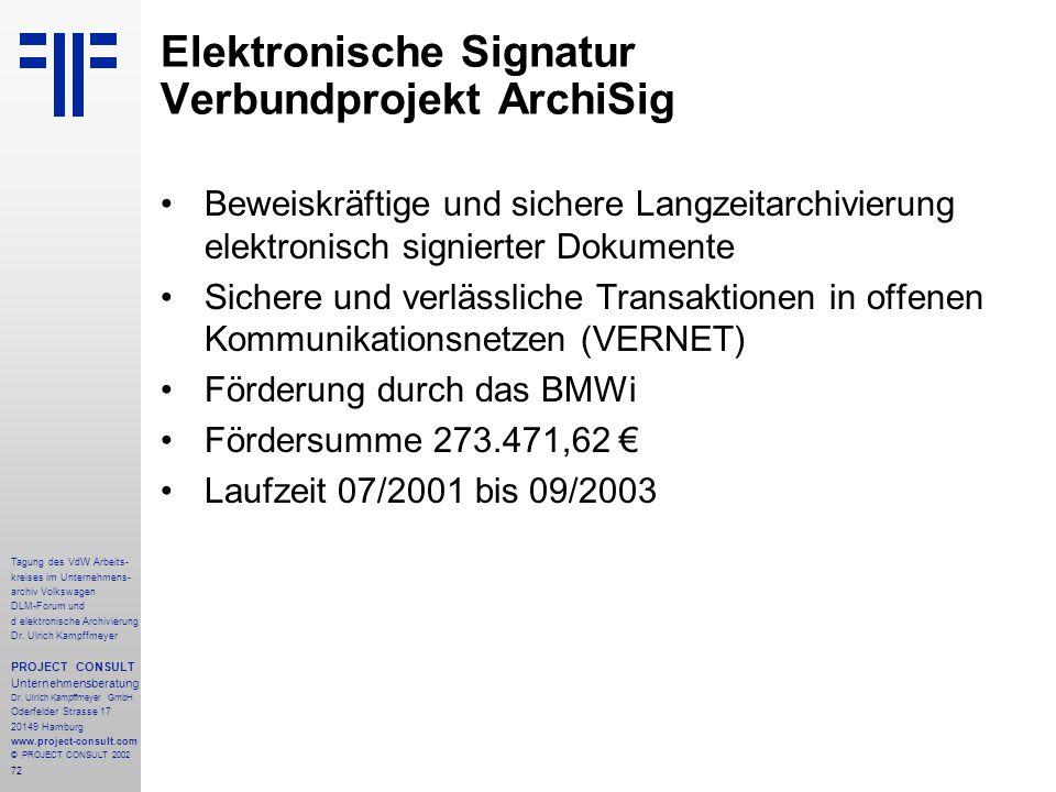 Elektronische Signatur Verbundprojekt ArchiSig