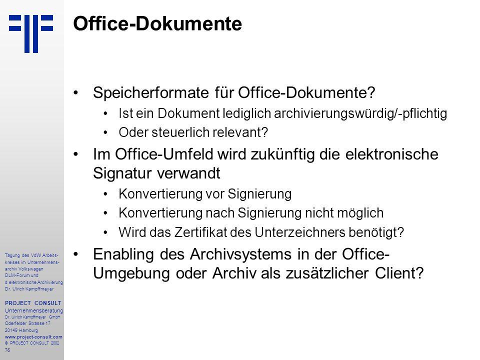 Office-Dokumente Speicherformate für Office-Dokumente