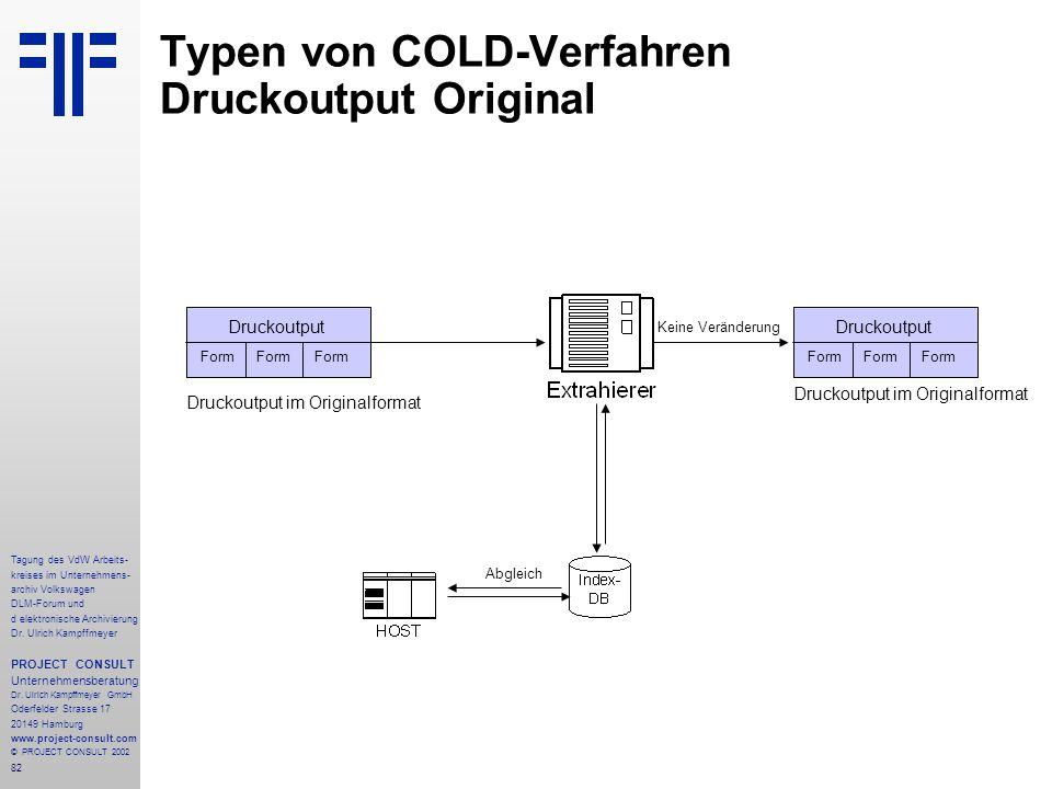 Typen von COLD-Verfahren Druckoutput Original