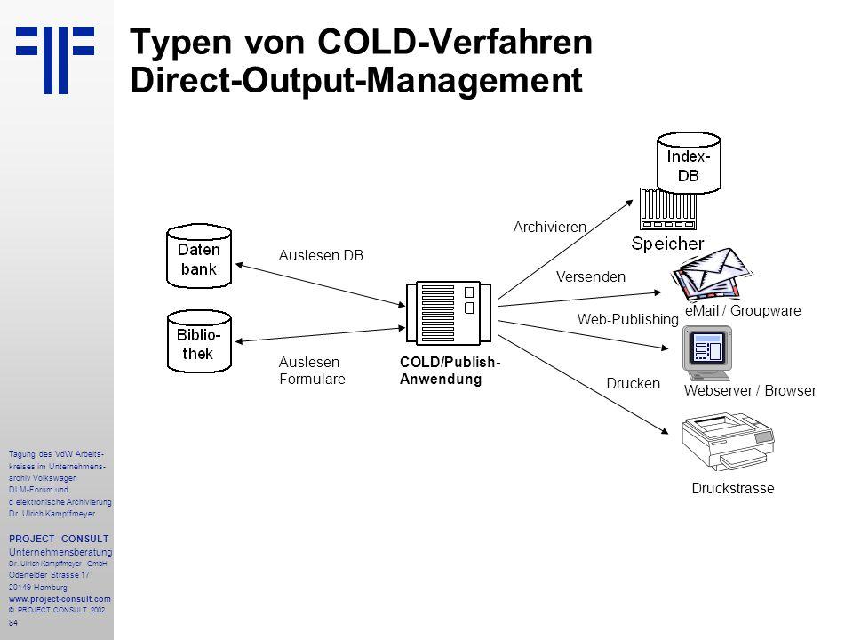 Typen von COLD-Verfahren Direct-Output-Management