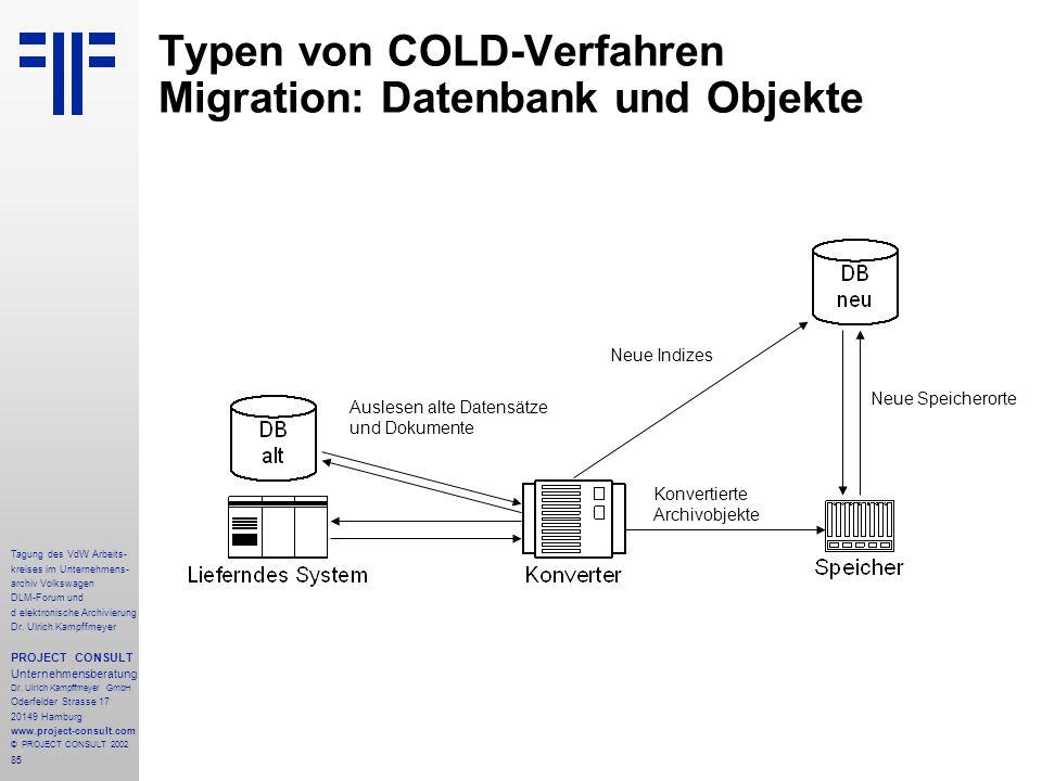 Typen von COLD-Verfahren Migration: Datenbank und Objekte