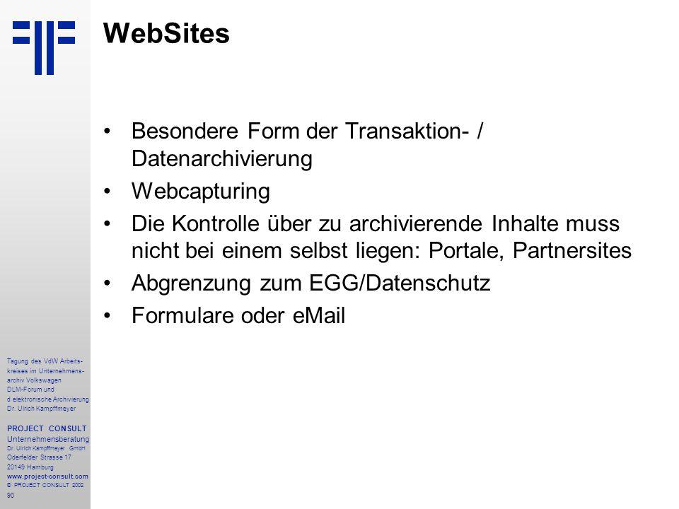 WebSites Besondere Form der Transaktion- / Datenarchivierung