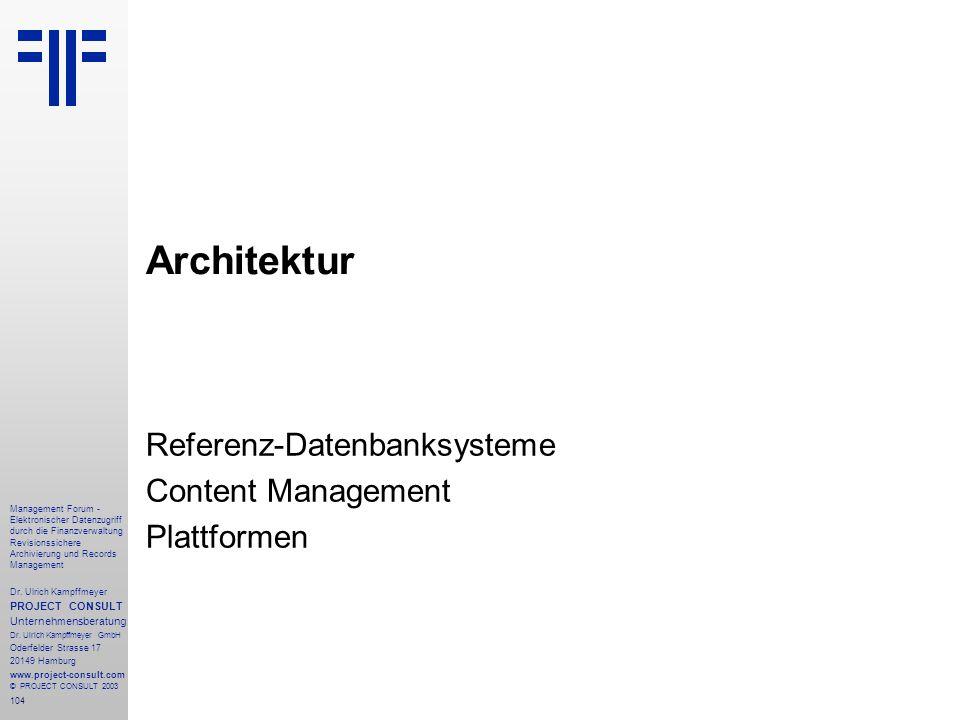Referenz-Datenbanksysteme Content Management Plattformen