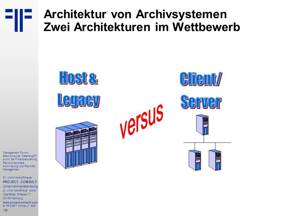 Architektur von Archivsystemen Zwei Architekturen im Wettbewerb