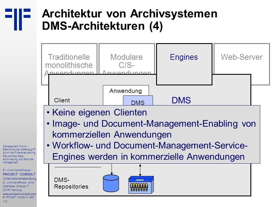 Architektur von Archivsystemen DMS-Architekturen (4)