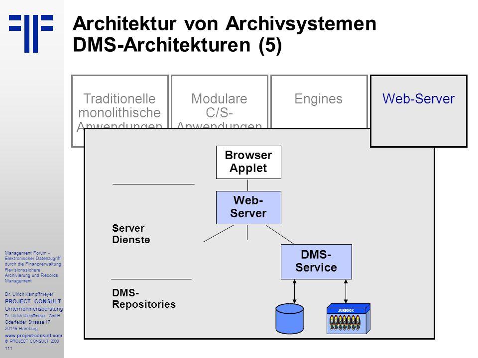 Architektur von Archivsystemen DMS-Architekturen (5)