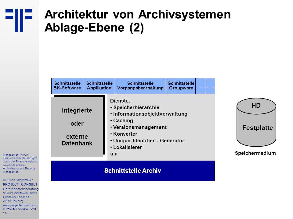 Architektur von Archivsystemen Ablage-Ebene (2)