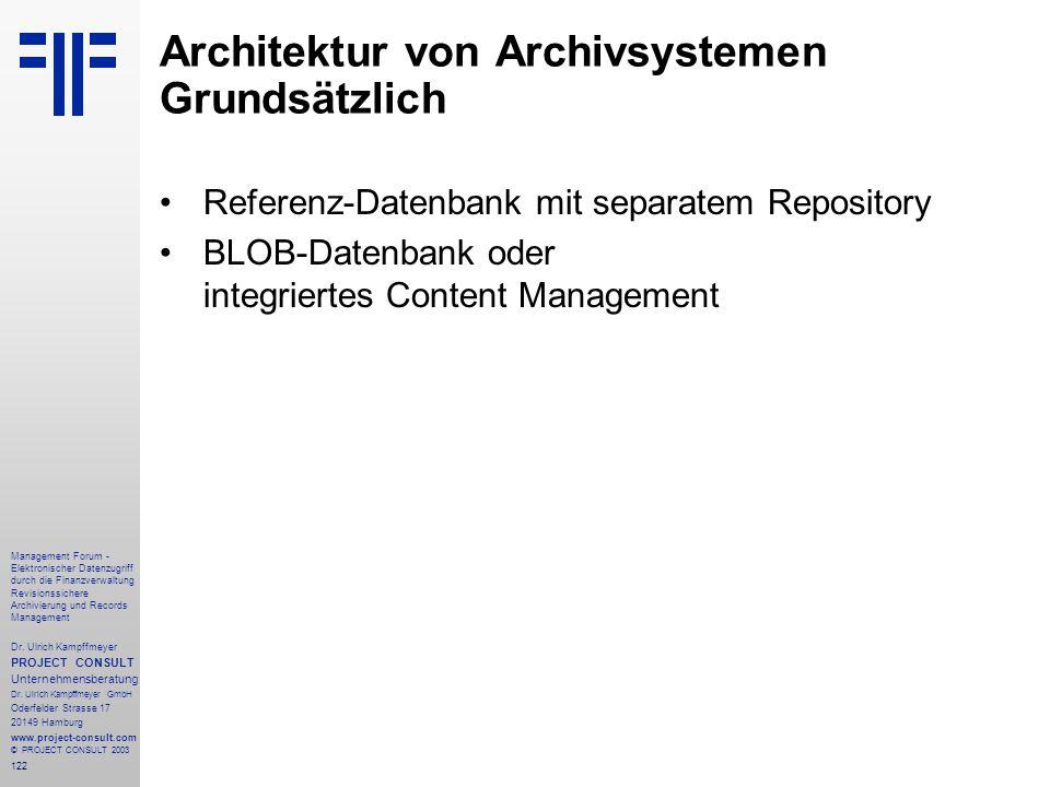 Architektur von Archivsystemen Grundsätzlich