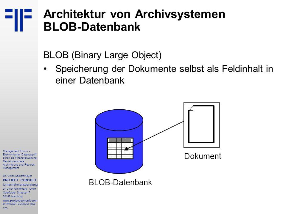 Architektur von Archivsystemen BLOB-Datenbank