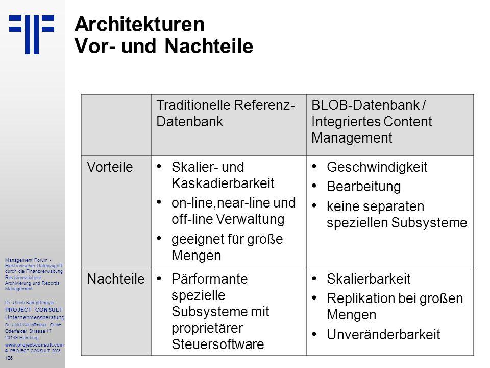 Architekturen Vor- und Nachteile
