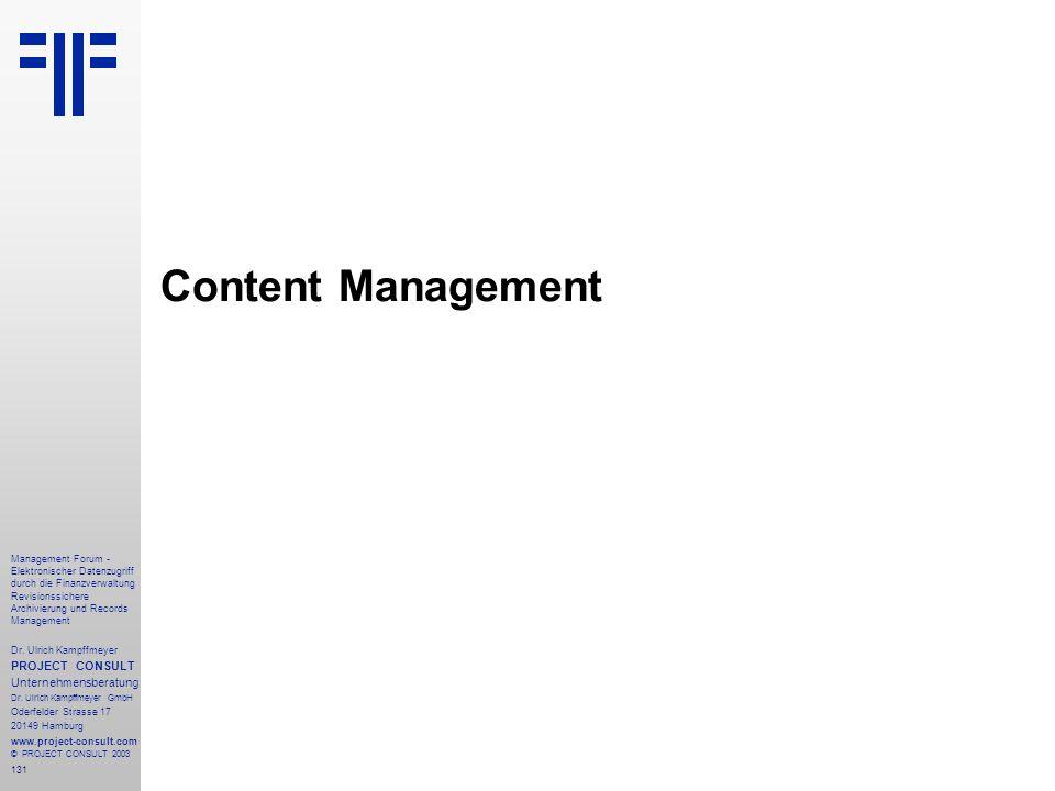 Content Management PROJECT CONSULT Unternehmensberatung