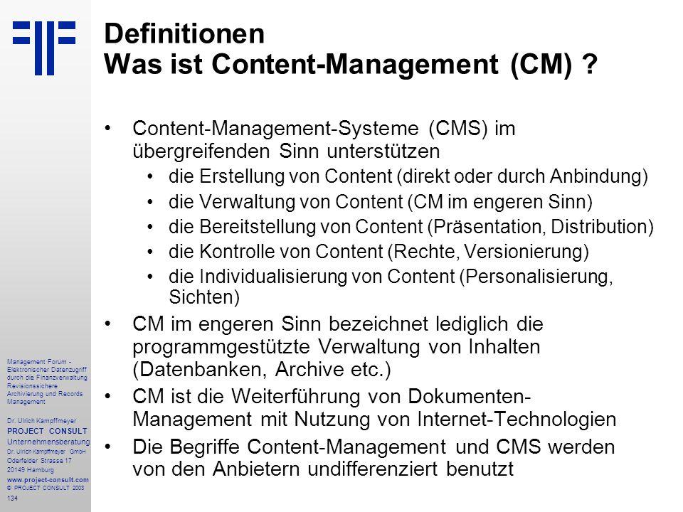 Definitionen Was ist Content-Management (CM)