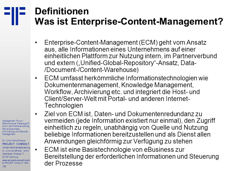 Definitionen Was ist Enterprise-Content-Management