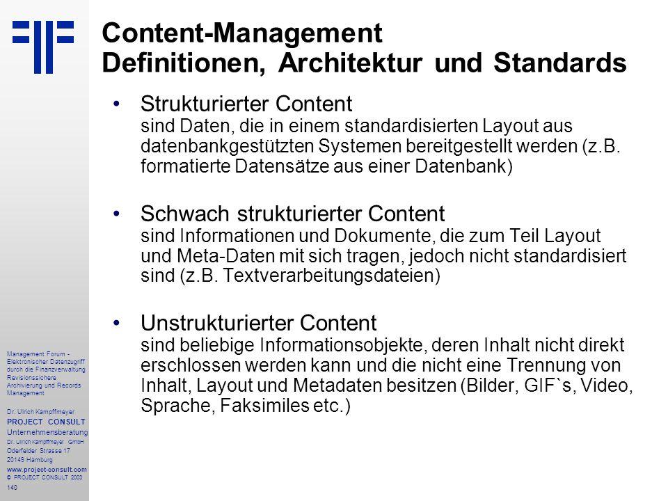 Content-Management Definitionen, Architektur und Standards