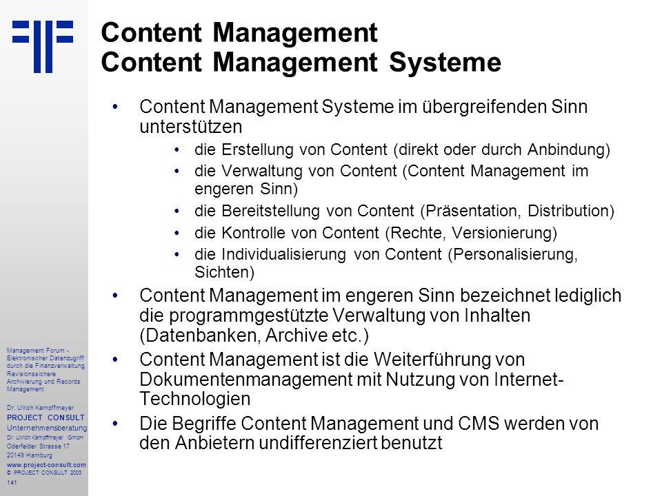 Content Management Content Management Systeme