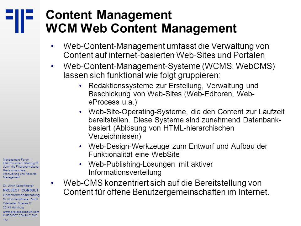 Content Management WCM Web Content Management