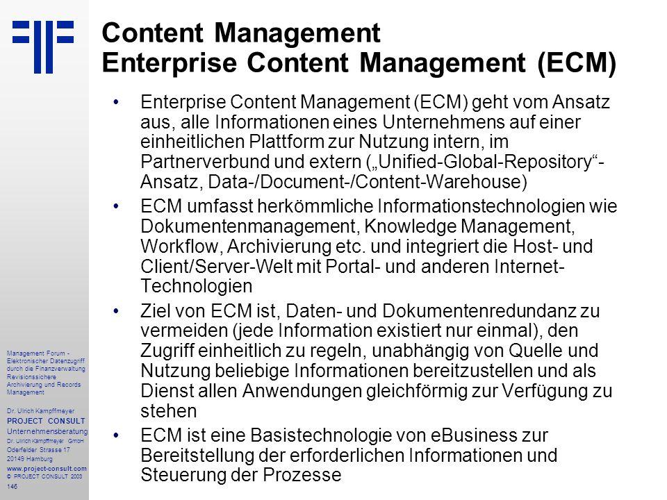 Content Management Enterprise Content Management (ECM)