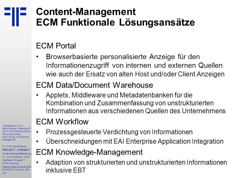 Content-Management ECM Funktionale Lösungsansätze
