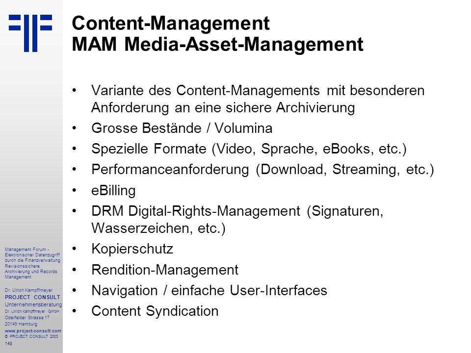 Content-Management MAM Media-Asset-Management