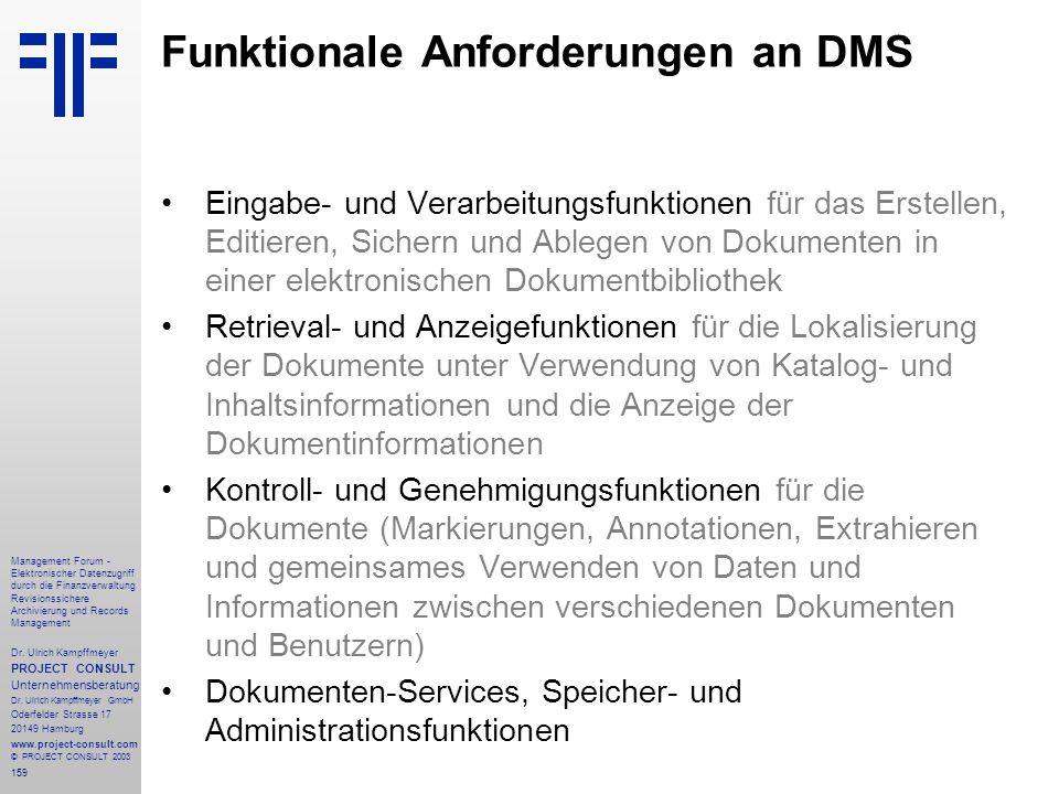 Funktionale Anforderungen an DMS