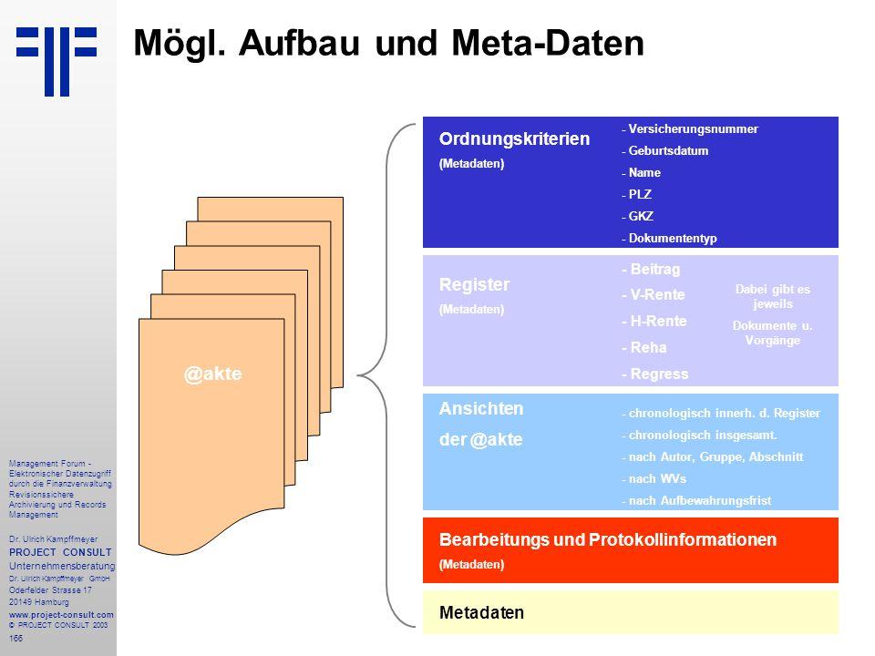 Mögl. Aufbau und Meta-Daten