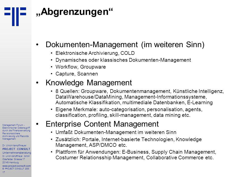 """""""Abgrenzungen Dokumenten-Management (im weiteren Sinn)"""