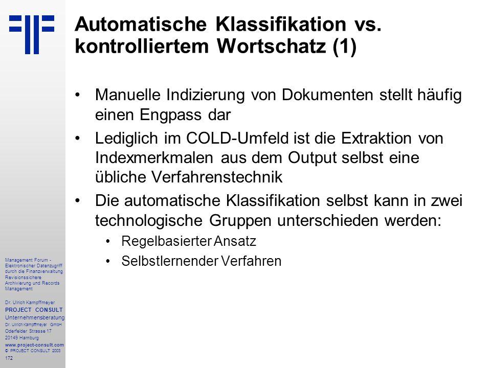 Automatische Klassifikation vs. kontrolliertem Wortschatz (1)