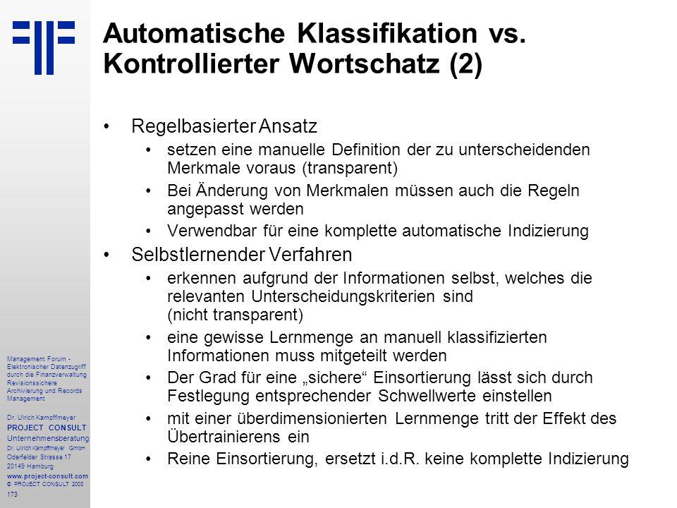 Automatische Klassifikation vs. Kontrollierter Wortschatz (2)