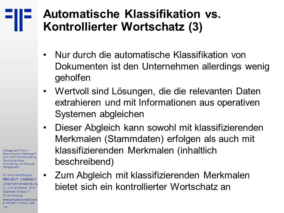 Automatische Klassifikation vs. Kontrollierter Wortschatz (3)