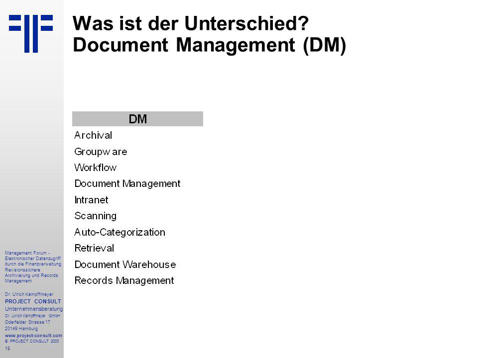 Was ist der Unterschied Document Management (DM)
