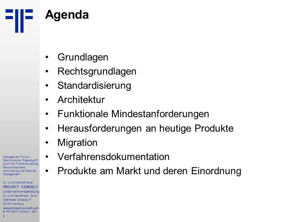 Agenda Grundlagen Rechtsgrundlagen Standardisierung Architektur
