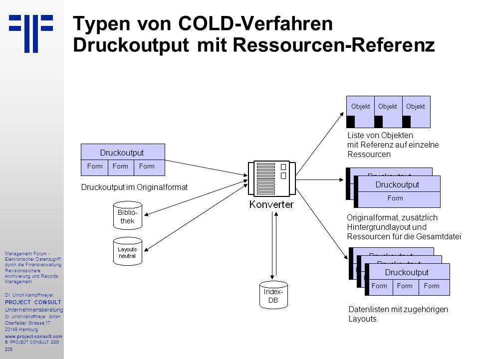 Typen von COLD-Verfahren Druckoutput mit Ressourcen-Referenz