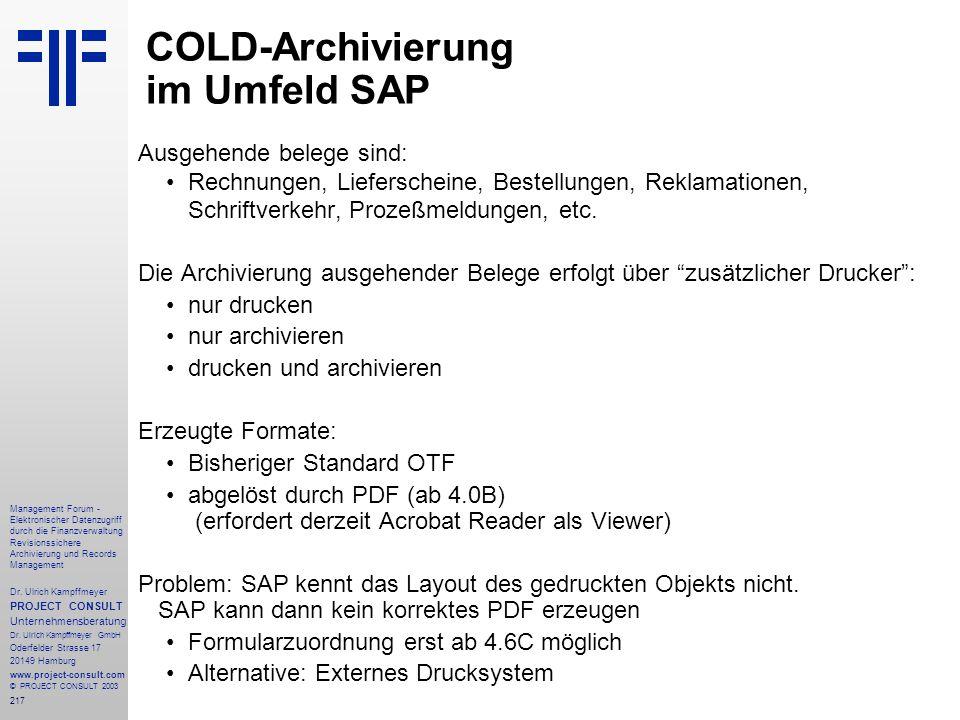 COLD-Archivierung im Umfeld SAP