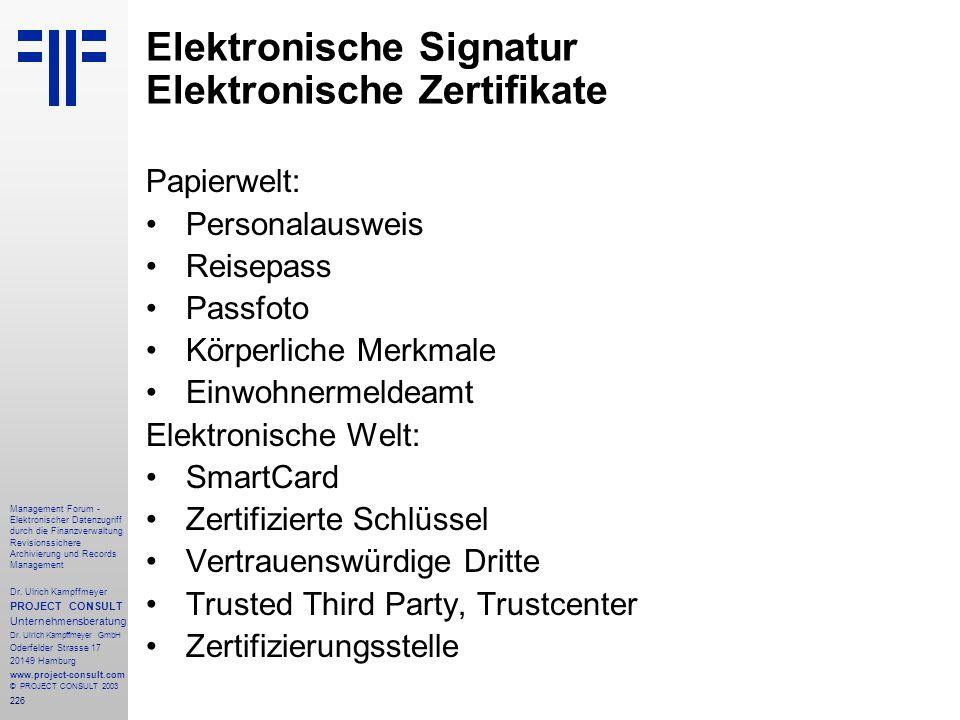 Elektronische Signatur Elektronische Zertifikate