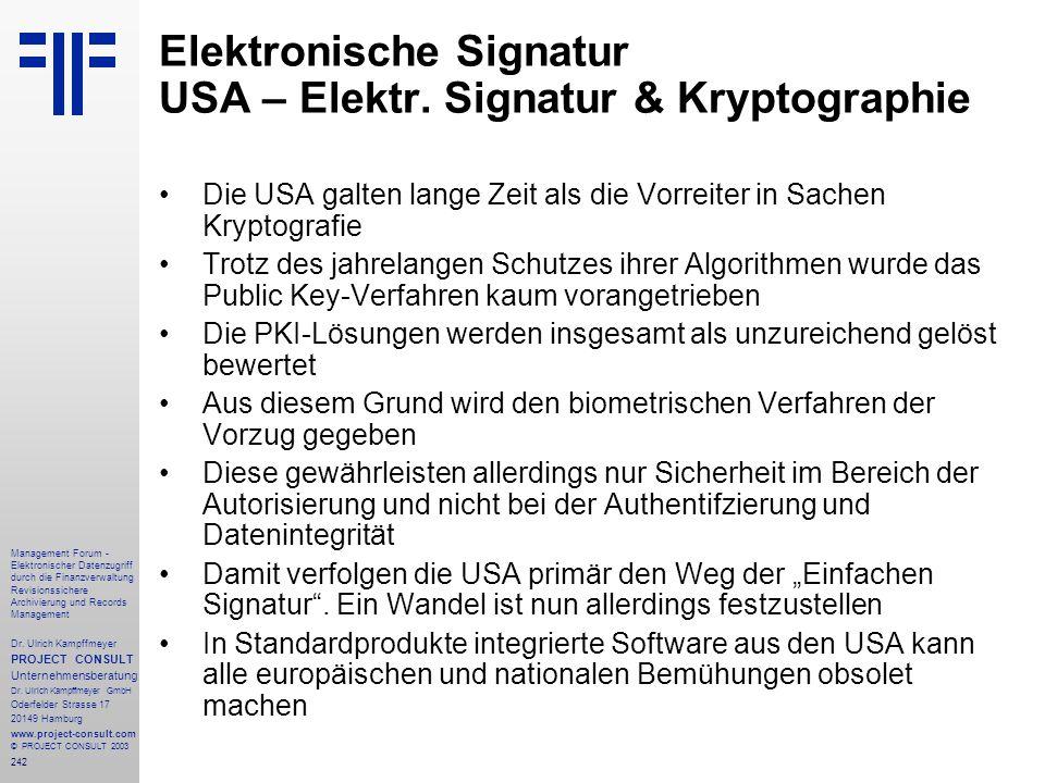Elektronische Signatur USA – Elektr. Signatur & Kryptographie