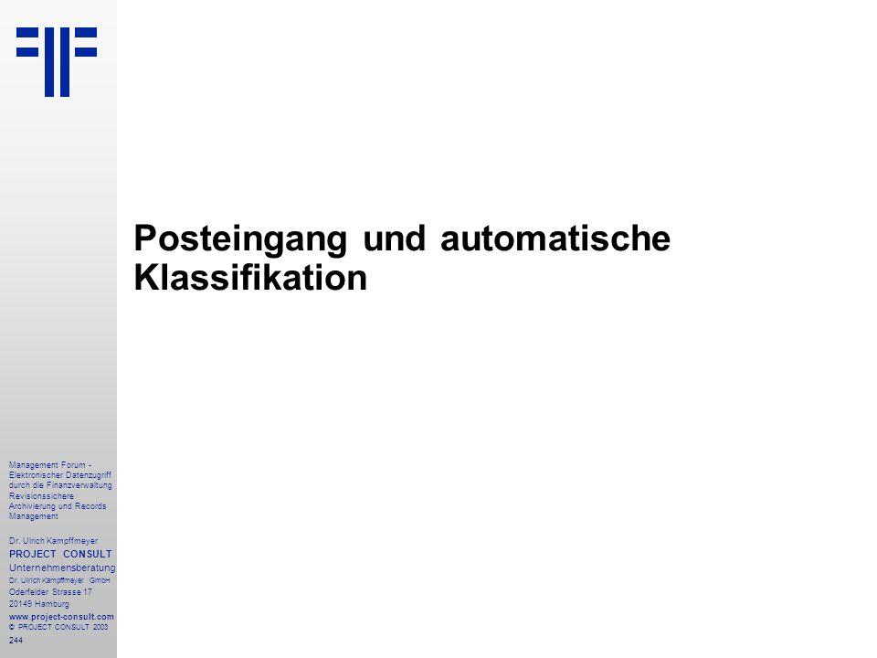 Posteingang und automatische Klassifikation