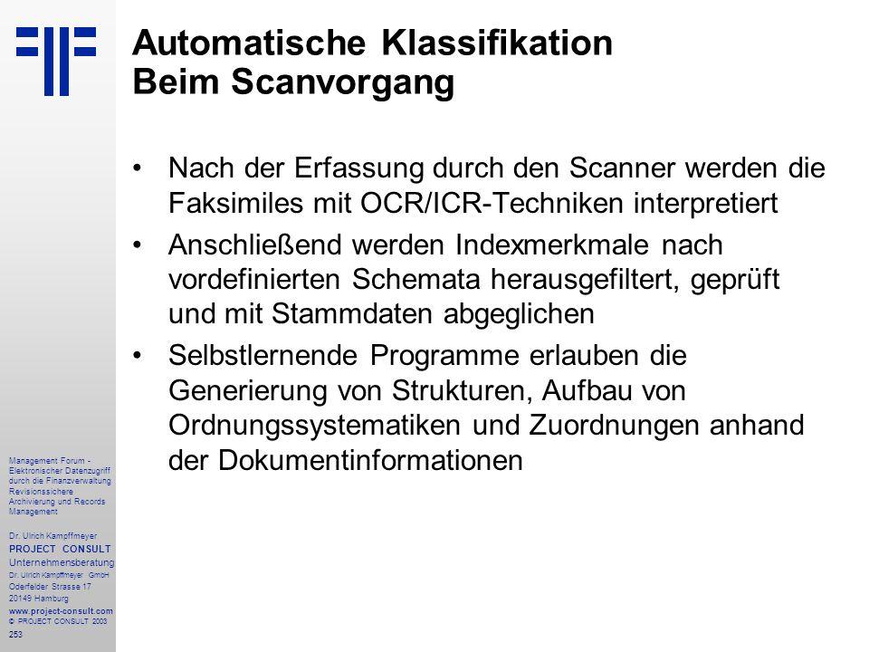 Automatische Klassifikation Beim Scanvorgang