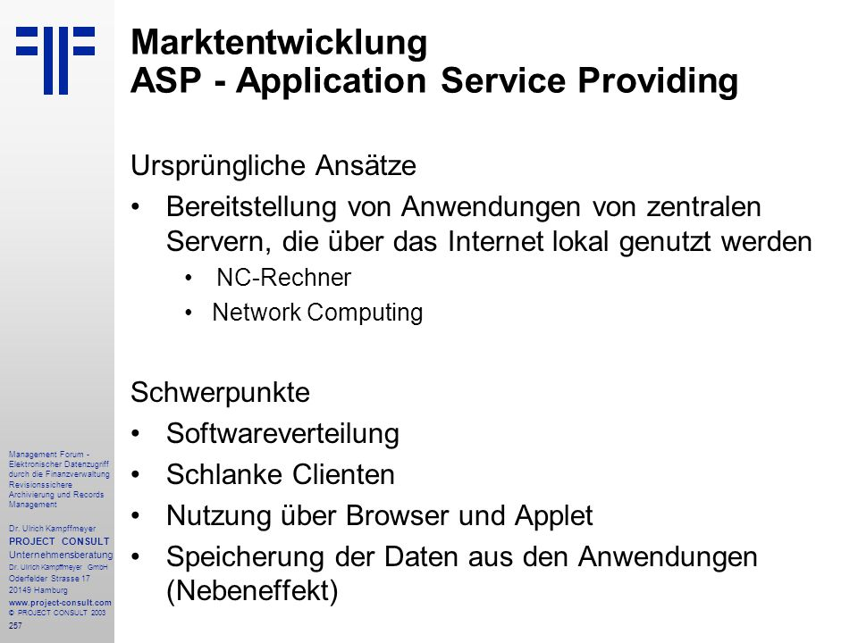 Marktentwicklung ASP - Application Service Providing