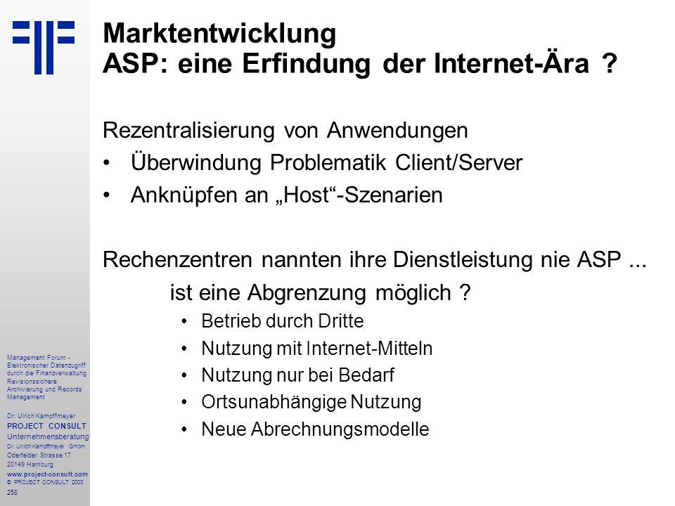 Marktentwicklung ASP: eine Erfindung der Internet-Ära