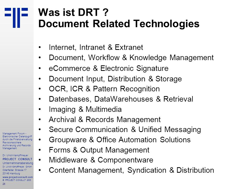 Was ist DRT Document Related Technologies