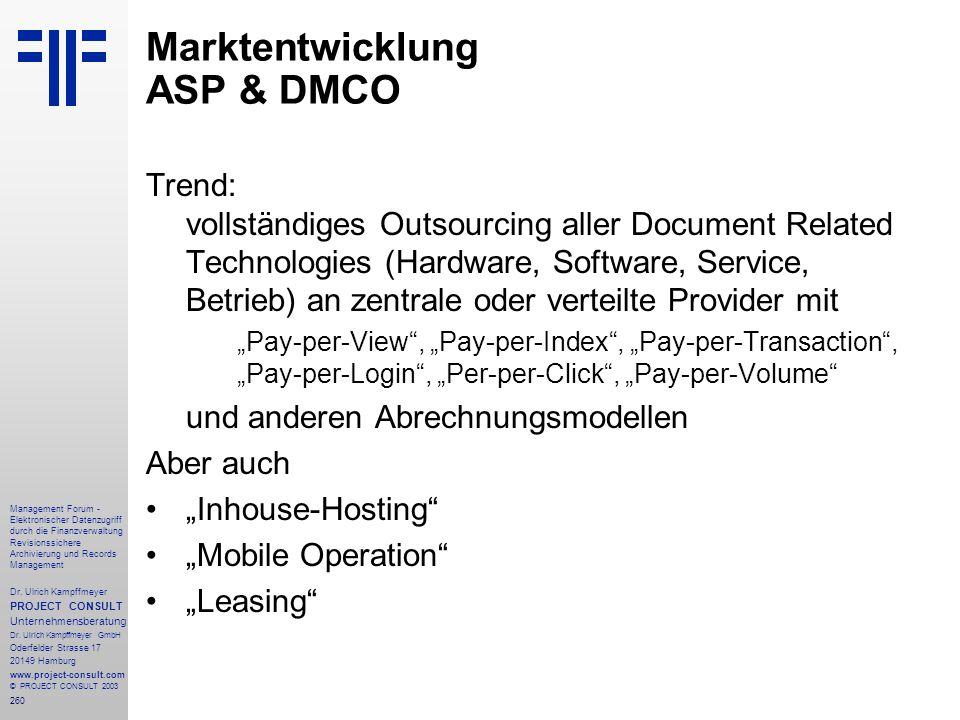 Marktentwicklung ASP & DMCO
