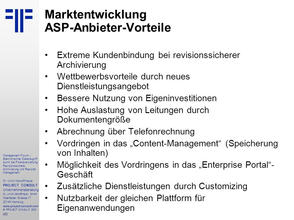 Marktentwicklung ASP-Anbieter-Vorteile