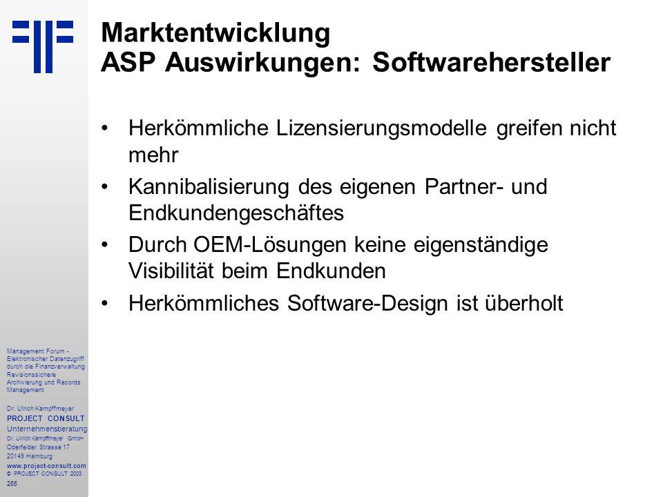 Marktentwicklung ASP Auswirkungen: Softwarehersteller