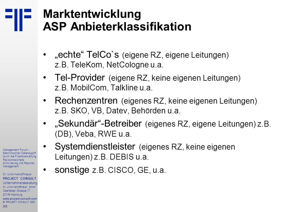Marktentwicklung ASP Anbieterklassifikation
